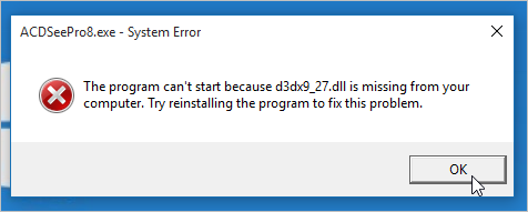 The program can't start because d3dx9_27.dll - ACD Systems ...