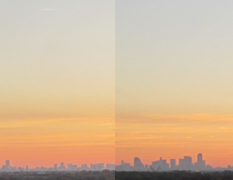 I captured the sunrise with the Dallas Skyline in the photo. IStitching two photos together i get a mismatch in colors. How do I fix this?