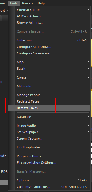 Remove Faces and Redetect Faces in the Tools menu