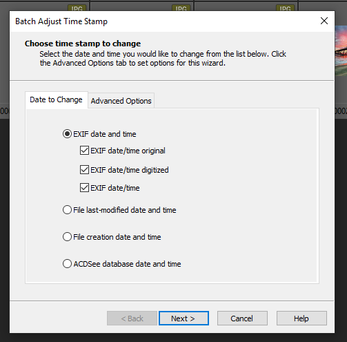 "On the first page of the Batch Adjust Timestamp dialog, select ""EXIF date and time""."