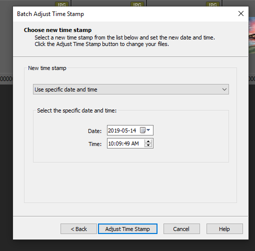 "On the second page of the Batch Adjust Timestamp dialog, select ""Use specific date and time"", and select the values you want."